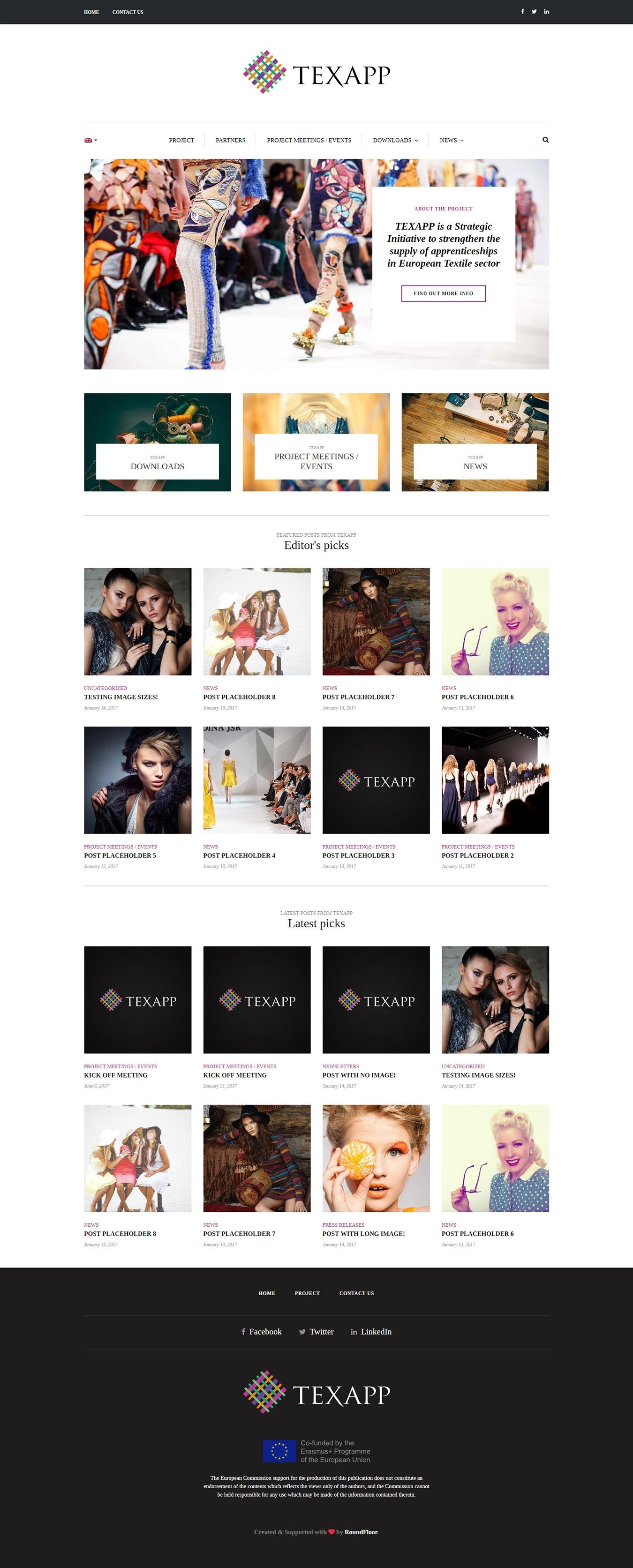 Κατασκευή ιστοσελίδας φορέα της Ευρωπαϊκής Ένωσης για τον κλάδο κλωστοϋφαντουργίας και μόδας TEXAPP